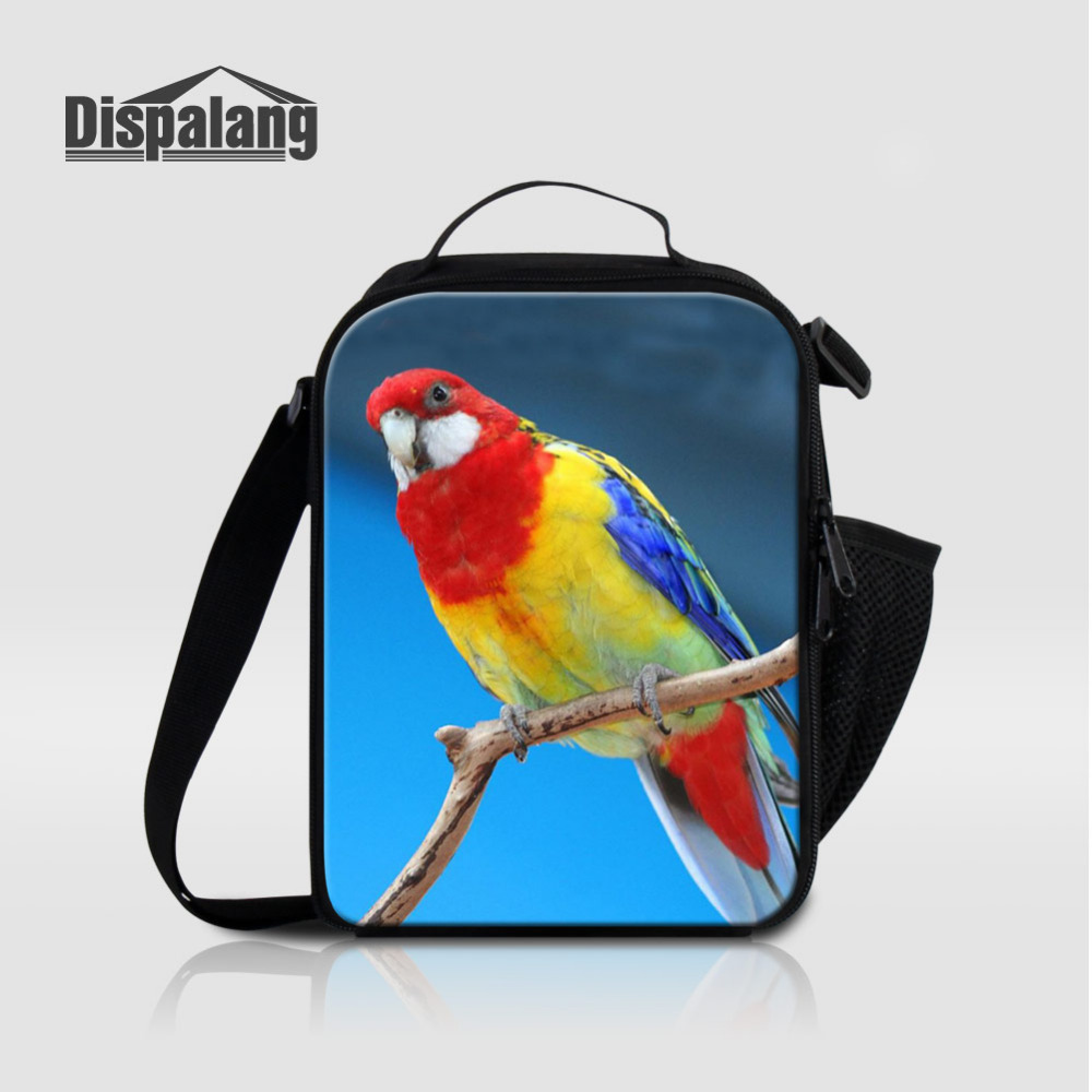Dispalang Kids Lunch Bags Parrot Animal Print Picnic Bento Bag Insulated Pack Food Cooler Bag Thermal Bag Leisure Accessories