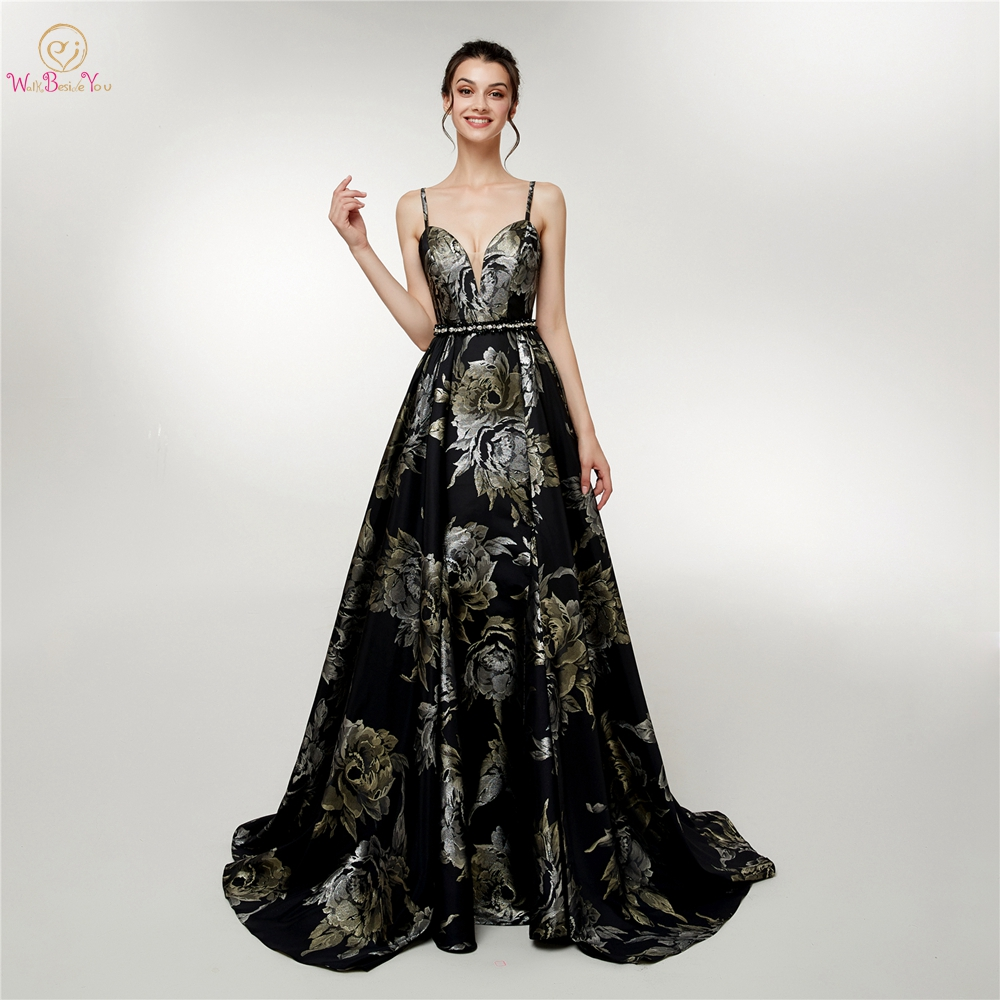 Black Print Evening Dresses Dubai 2019 Sweetheart Spaghetti Straps Beaded Waistband Moroccan caftan Prom Gown A Line Satin Long