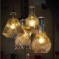 Скандинавский индивидуальный светодиодный подвесной светильник с одной головкой  стеклянная Выгравированная бутылка вина  лампы для гост...