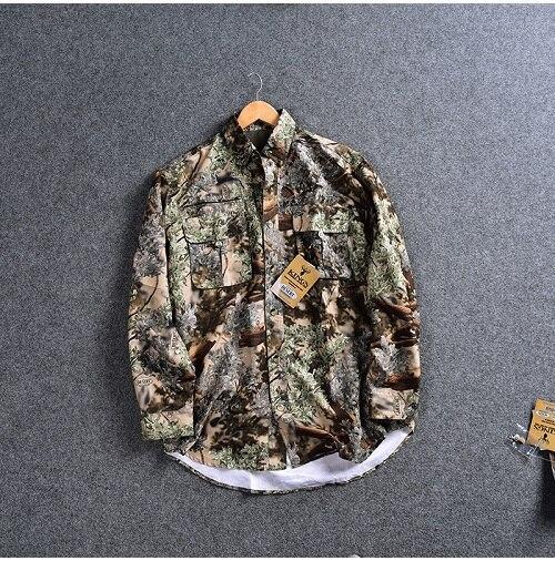 Мужская рубашка для охоты, камуфляжная уличная рубашка LS, одежда для охоты, мужские рубашки для рыбалки, быстросохнущая рубашка, плюс размер США, M-3XL, Camisa - Цвет: Color as picture