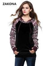 Free Shipping 2017 New Autumn Casual Winter Women's Kangaroo Pocket Long Sleeve ethnic style Sleeve Print Pullover Hoodies