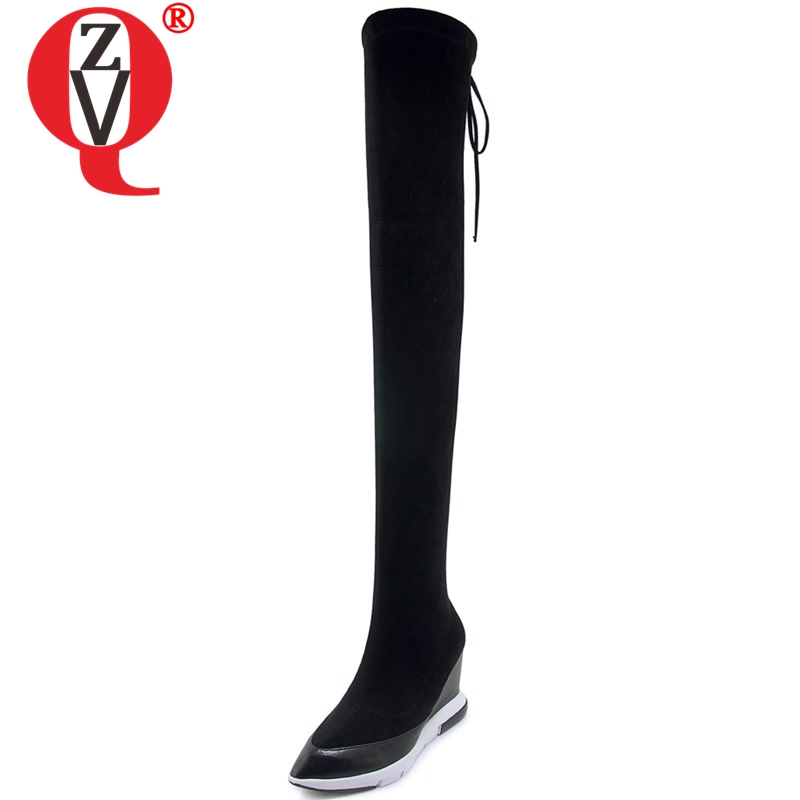 ZVQ 2018 new comfortable fashion pointed toe super high wedges platform lace-up over knee boots winter warm black women shoesZVQ 2018 new comfortable fashion pointed toe super high wedges platform lace-up over knee boots winter warm black women shoes