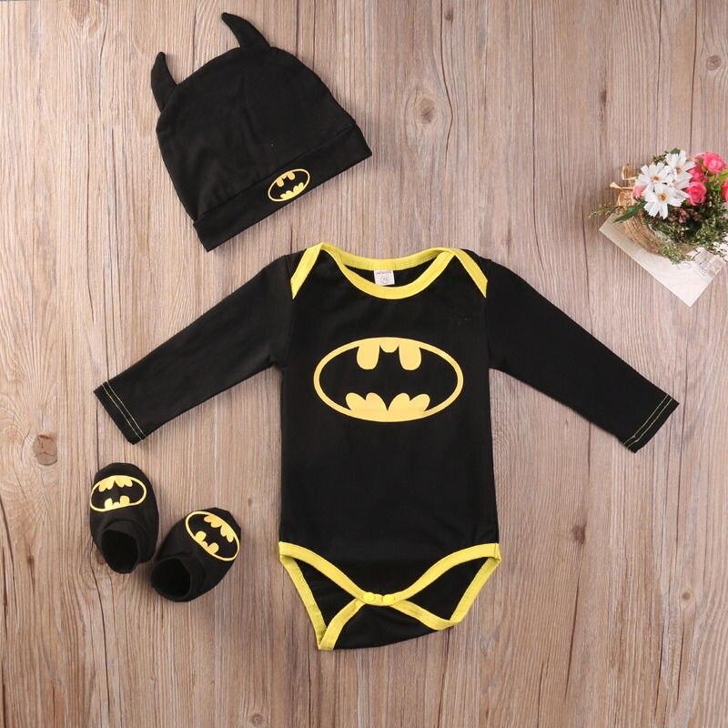 Новорожденного Мальчика Бэтмен Боди Обувь Шляпа Одежда 3 Шт. Наряды Установить 0-24 М