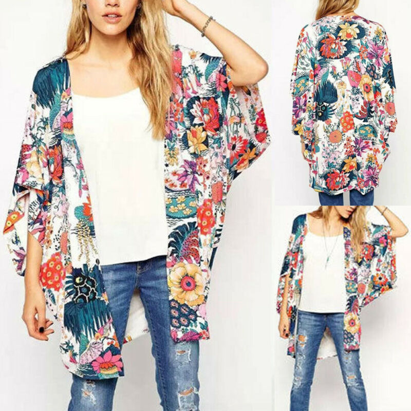 Plus Size Sexy Women Fashion Lace Loose Floral Kimono Holiday Cardigan Lady Summer Top Blouse Coat