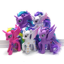 10CM my rainbow horse toys decoration PVC Figures poni  Doll colourful model Suitable for Kids over the age of 6 the best gift