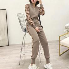 Chándales de punto para mujer, conjuntos de dos piezas, chaqueta y pantalones largos ajustados con cremallera, trajes deportivos de leopardo para mujer 2019