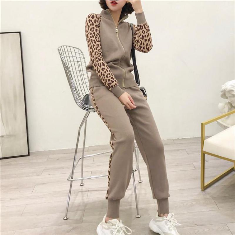 Women Tracksuits New 2019 Spring Knitted Two Piece Sets Slim Zipper Cardigans Jacket + Long Pants Suits Woman Leopard Sportsuits
