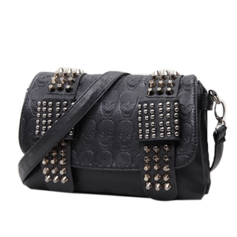 JIETOTYX Women Black Leather Messenger Bags Single Skull Rivet Shoulder Bags Sac A Main Bolsa Black Vintage Sexy Bag Lady Drop