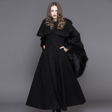 The new Devil Fashion Flare sleeve plush Slim Fit show thin Outwear Coat Hooded Long punk female temperament Satge Woolen coat