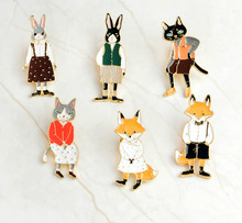 Pins and Brooches Rabbit/Fox/Cat Couple Enamel Pin Badges Hat Backpack Accessories Lovers Jewelry Gift for Lover Cute/Romantic(China)