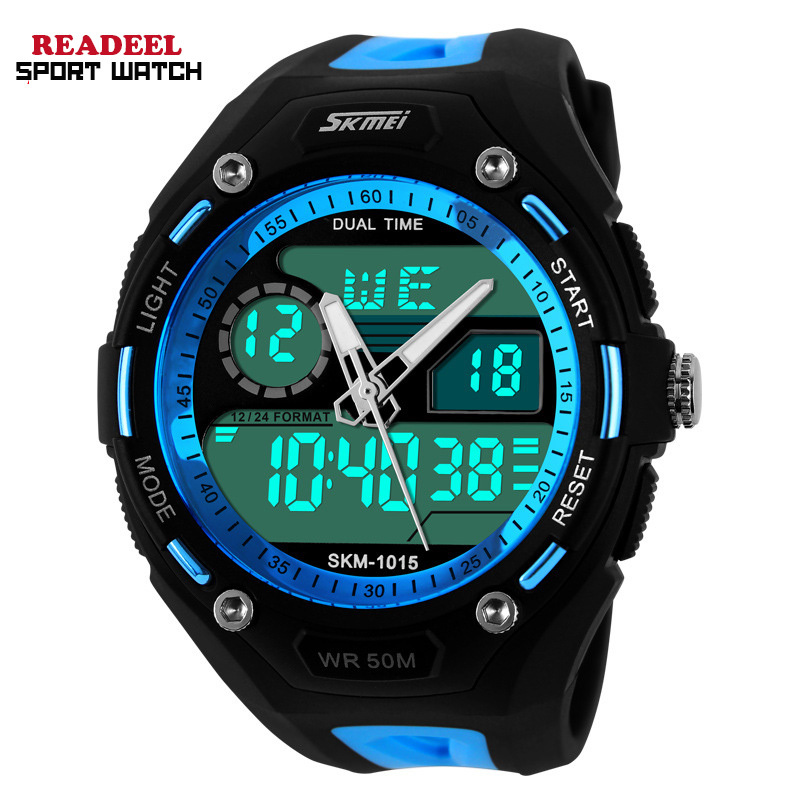 Men Sports Watches Men Electronic Quartz Wristwatch Relogio Digital Analog Alarm Military Watches Led 50m Waterproof