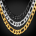 U7 Chain For Men Gift Yellow Gold/Black Gun Plated 316L Stainless Steel Figaro Chain Necklace Men Jewelry Wholesale N505