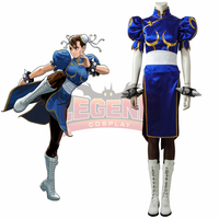 Street Fighter Chun Li Game Halloween Cosplay Costume For Women Girl Blue Dress Outfit Headpiece Without