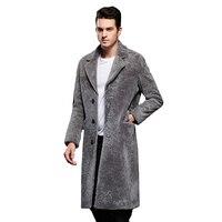 Мода джентльмен овец Мех животных пальто натуральная овечья шерсть серый мужской Смарт повседневная куртка осень зима Длинный плащ Для муж