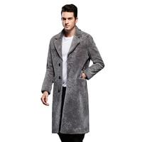 판매 품질 신사 양 모피 코트 정품 양 양모 남성 스마트 캐주얼 자켓