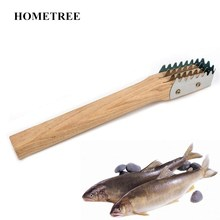 HOMETREE 1pc Kitchen Fish Scales Scraper Fast Cleaning Knife Wood Handle Stainless Metal Skin Remover Seafood Tools H454