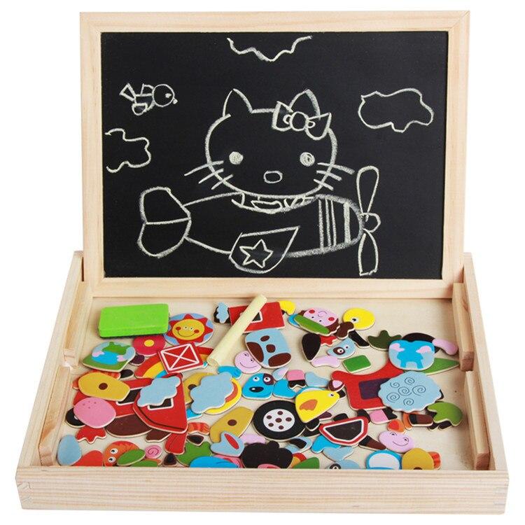 Apprentissage éducation jouet en bois multifonction enfants enfant Animal ferme Transport insecte Puzzle écriture magnétique dessin tableau noir
