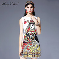 MoaaYina Runway Designs Summer Dress Women Sleeveless Playing Cards Crystal Beading Sequin Casual Straight Mini Short