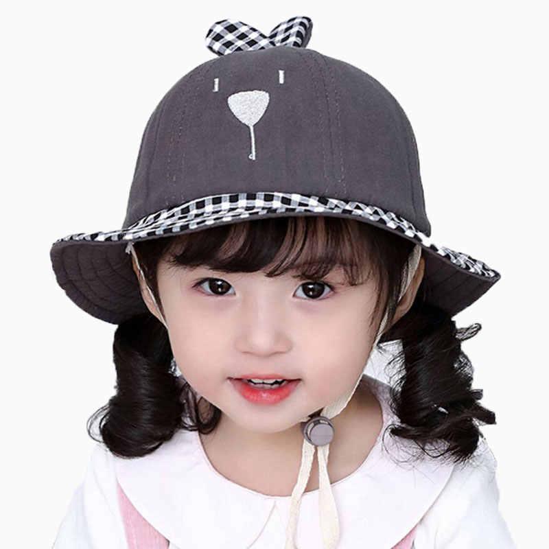 6507966ccffc2 Child Baby Hat 2019 Spring Bucket Hat Outdoor For Kids Plaid Beach Hat Boys  Girls Cartoon