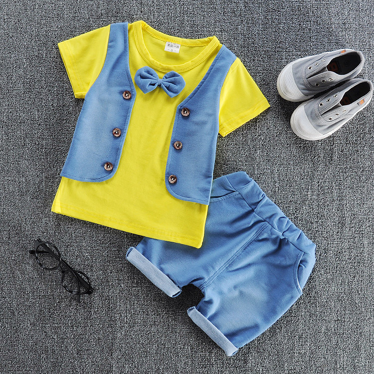 2017 Summer new fashion denim baby boys clothes set cotton material with tie children clothing set A007