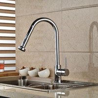 Good Quality Chrome Finish Pull Out Kitchen Sink Faucet Single Handle Two Sprayer Functions Mixer Tap