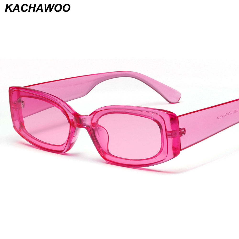 Kachawoo Rectangle Sunglasses Pink Transparent Candy-Color Blue Women Ladies Travel Gift