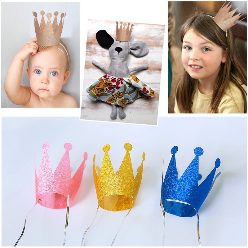 6pcs Party Birthday Hat for Spots Decoration Birthday Celebration Party Decor Kids Children Birthday Crown Supply on Sale