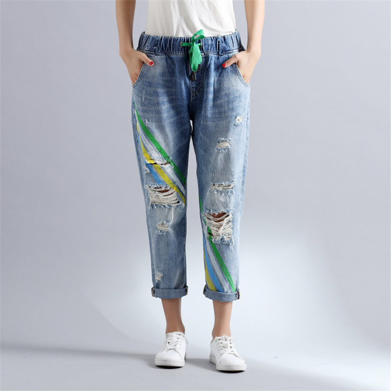 Women Spring Summer Fashion Brand Korea Style Painted Hole Frayed Striped Elastic Waist Ankle-length Pants   Jeans   Beggar Trousers