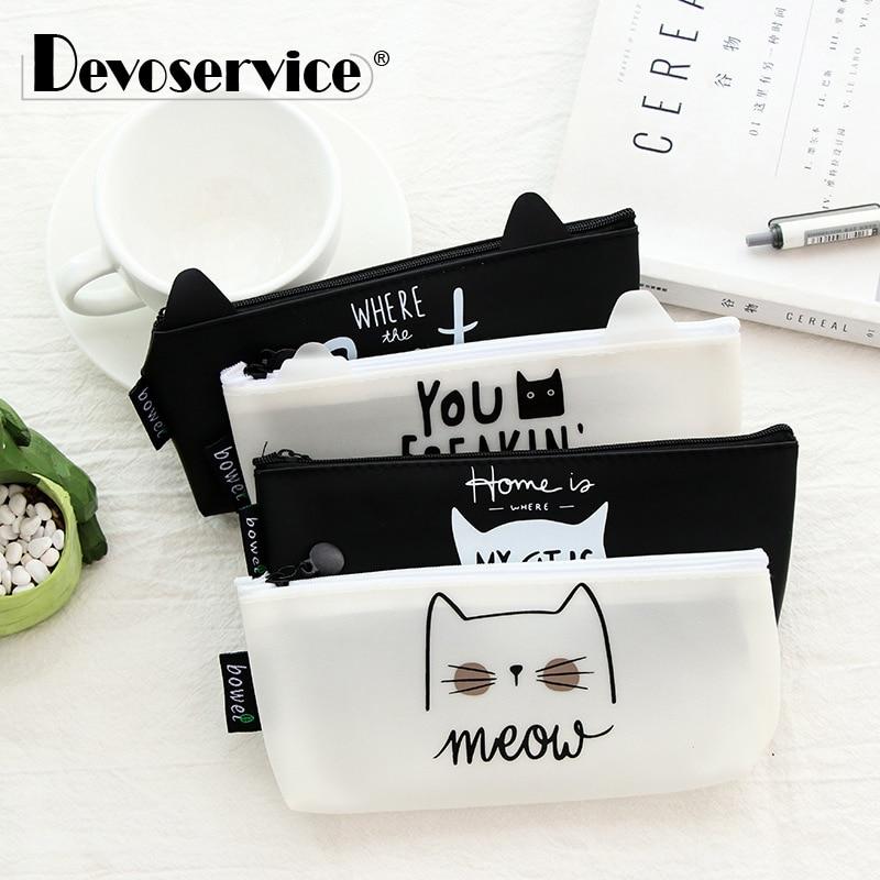 1Pc Kawaii Cute Cat Pen Bag Pencil Bag Silicon School Stationary Receive Tool Makeup Pouch Cosmetics Pencil Case Office Supplies