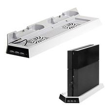 GameMod White Vertical Stand Cooling Fan with Charging Station for Playstation 4 PS4 Console + Dual USB HUB Charger Ports