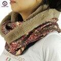 2016 новый большой кольцо стиль цветочные печатные женская мода зима шейный платок шарфы вокруг шеи Женщины Обертывания дамы шарф флис