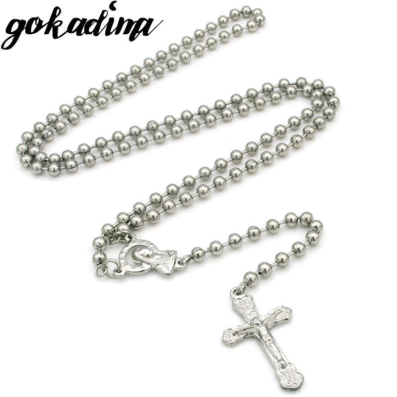 Gokadima men's stainless steel rosary necklaces beads chain Jesus Cross Crucifix women's jewellery hip hop style WRN82