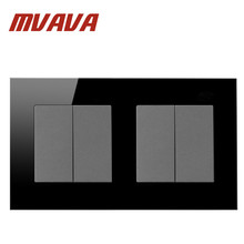 Mvava 4 Gang 2 Way Switch Button 146*86mm Black Crystal Glass 2 Model Double Control Power Push Button Switches Free Shipping 4 gang 2 way switch button wallpad 110 250v white crystal glass power push button double control switches free shipping