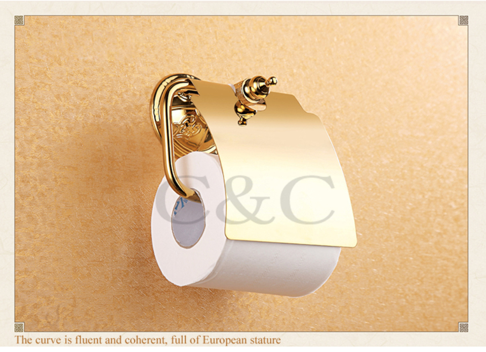 ФОТО Toilet Roll Holder Noble And Elegant Solid Copper Gold Plating Bathroom Paper Holder 1212