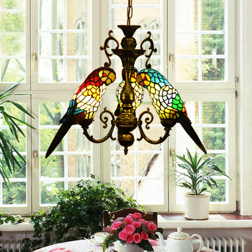 Vintage Tiffany Style Stained Glass Tri-Parrots  Chandelier Hanging Lamp