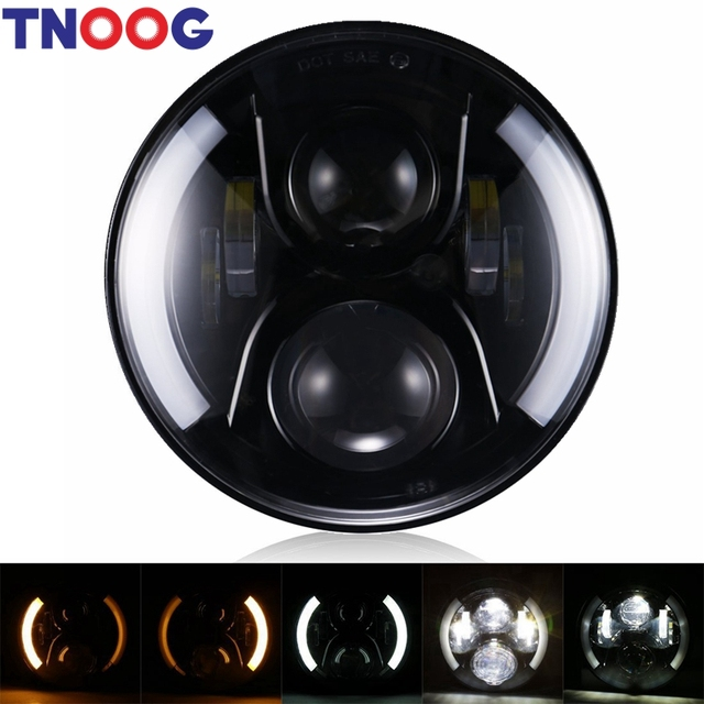 """TNOOG LED  Headlight 7"""" 7 inch 50W H4 Motorcycle Driving Light with DRL Turn Signal Halo Ring for Harley Davidson Lights"""