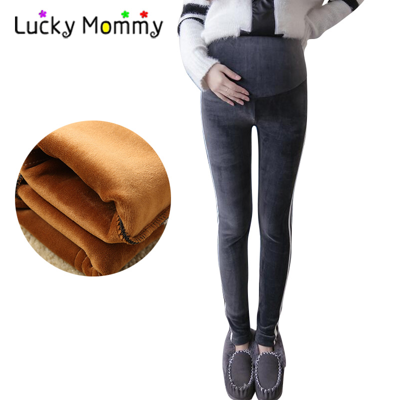 Casual Stripes Warm Maternity Pants Plus Velvet Leggings Trousers Winter Maternity Clothes Autumn 2017 Pregnancy Clothing sulee brand autumn winter mens heavyweight stretch denim jeans casual fit loose relax trousers pants plus size 42 44