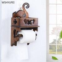 Direct selling solid wood bathroom racks horizontal bar towel rack retro hollow wall hanging creative kitchen roll holder