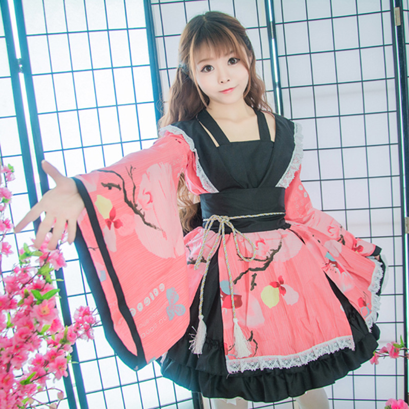 Vintage Improved Women Cosplay Anime Costume Elegant Cotton Female Yukata Dress Japanese Traditional Girl Kimono Christmas Gift
