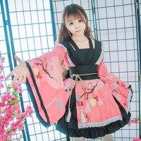 Vintage Improved Women Cosplay Anime Costume Elegant Cotton Female Yukata Dress Japanese Traditional Girl Kimono Christmas Gift