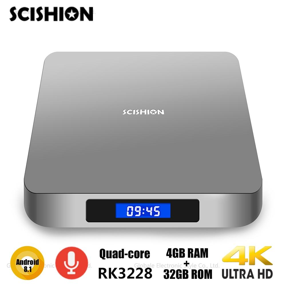 SCISHION AI ONE Android 8.1 Smart TV Box avec commande vocale Rockchip 3328 2 GB 16 GB WiFi décodeur Bluetooth décodeur