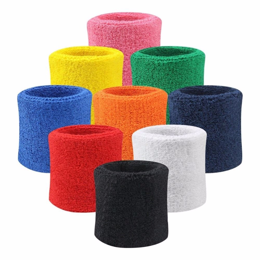 купить 2PCS Colorful Cotton Unisex Sport Sweatband Wristband Wrist Protector Running Badminton Basketball Brace Terry Cloth Sweat Band по цене 26.04 рублей