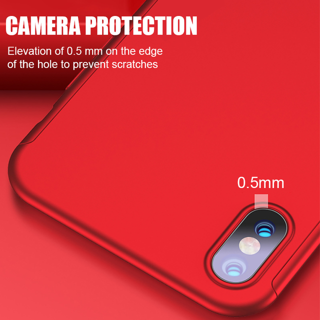 Luxury 360 Full Cover Phone Case For iPhone 8 7 6 6s Plus X 10 Cover Case For iPhone XS Max XR XS Protective Case With Glass