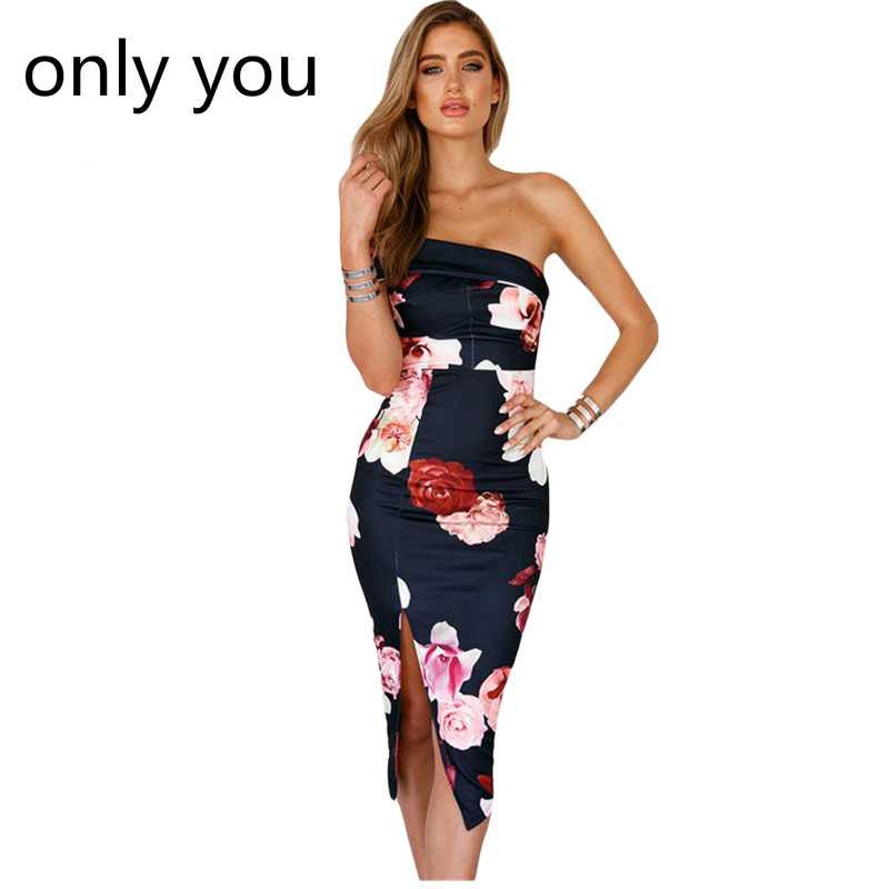 ONLY YOU Print Dresses New Arrival Ladies Boho Summer Sloping Shoulder Bodycon Floral Midi Dress vestidos verano 2018 LC61608