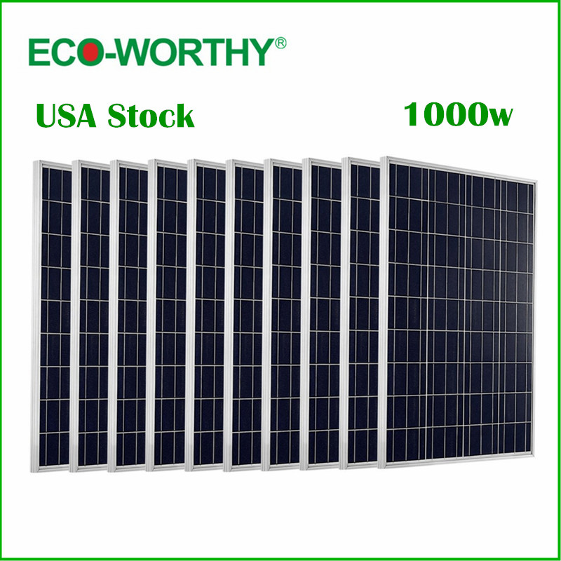 ECO-WORTHY USA Stock 1KW 10pcs 100w Solar Panel 12v Polycrystalline Solar Panel for 12v Battery Off Grid System dc house usa uk stock 300w off grid solar system kits new 100w solar module 12v home 20a controller 1000w inverter