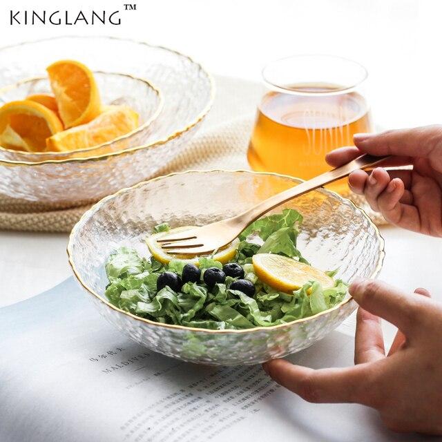 נורדי סגנון גלידת קינוח זכוכית קערת זהב Sim בית מערבי עגול סלט קערות זכוכית כלי שולחן