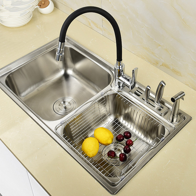304 stainless steel blade double bowl basin kitchen sink Wash bowl tub basins Double sinks with faucet set brushed counter