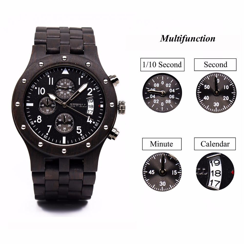 BEWELL Multifunction Mens Watches Top Brand Luxury Wooden Wristwatch with Date Display Sport Stopwatch Relogio Masculino 109D