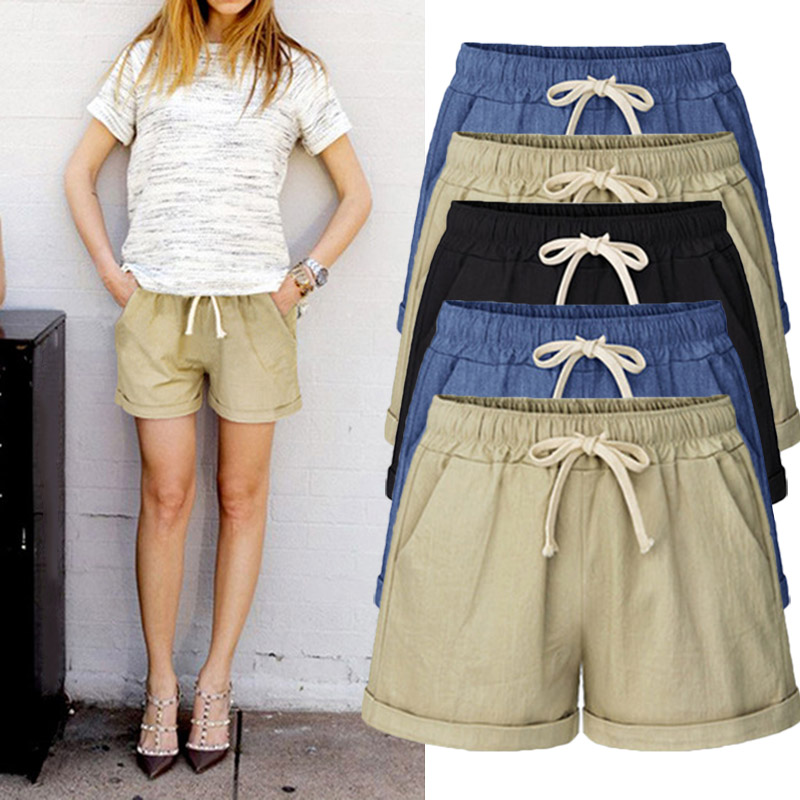 2018 summer womens casual elastic waist Drawstring shorts Solid self-cultivation shorts Cargo Shorts ...
