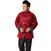 New Arrival Red Chinese Style Men S Winter Thick Outwear Novelty Button Jacket Mandarin Collar Tang